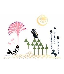 Rie Elise Larsen Poster - Uil in het bos - 70x50cm