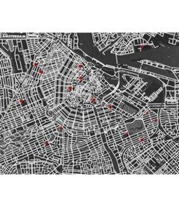 Pinmap Amsterdam - Zwart - 80x100 cm
