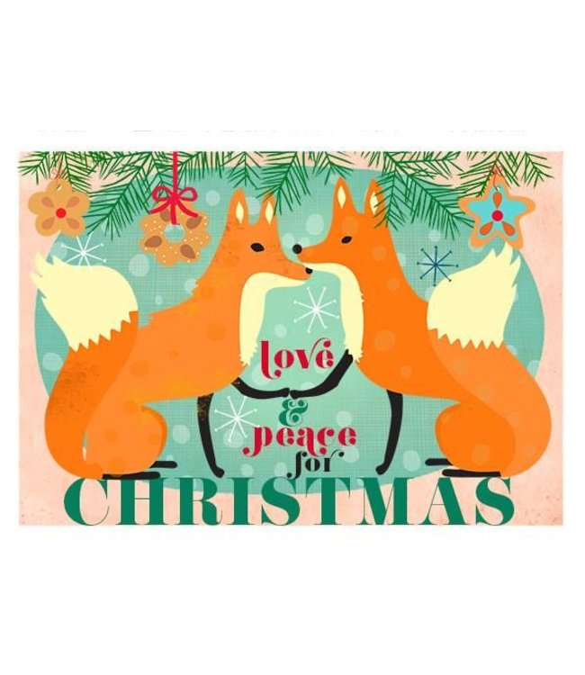 Elisandra Postkaart - love and peace Christmas