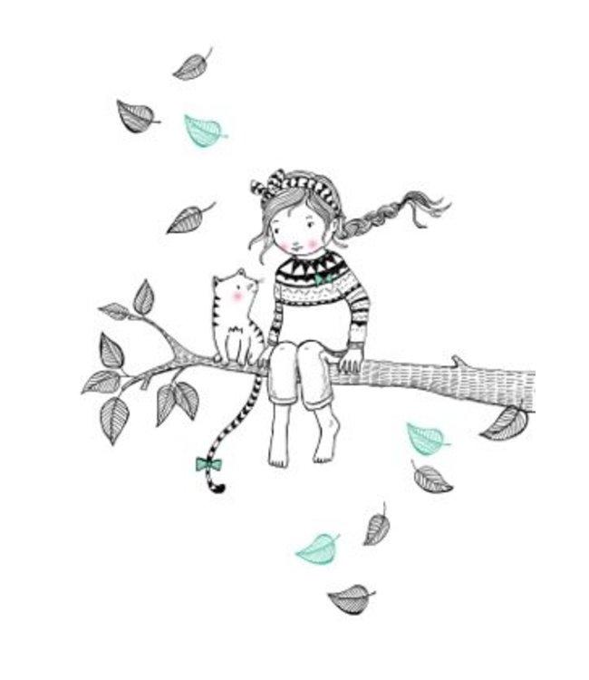 Petite Louise Poster A4 - Meisje op tak