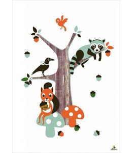 Miss Honeybird Poster - Feest in het bos - 60x42 cm