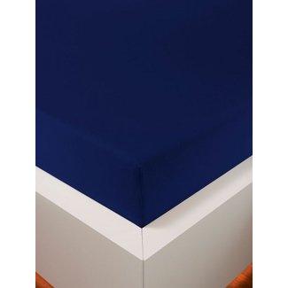 Weseta Switzerland bellana® de Luxe Spannbetttuch/Fixleintuch Jersey mit Elastan, samtweich marine