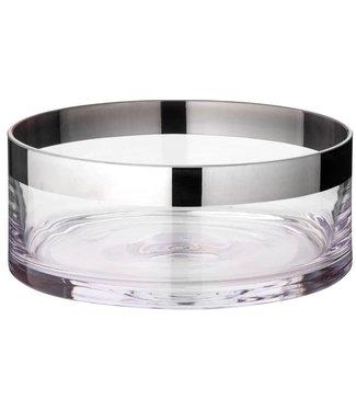 Edzard Schale Dekoschale Grit, mundgeblasenes Kristallglas mit Platinrand, Durchmesser 25 cm