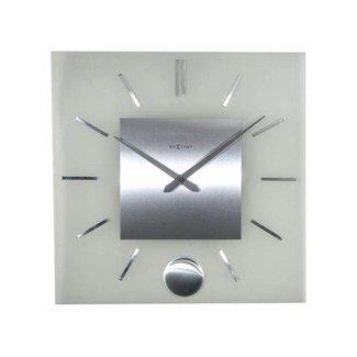 NEXTIME NeXtime Wanduhr Stripe Pendulum Square Silber