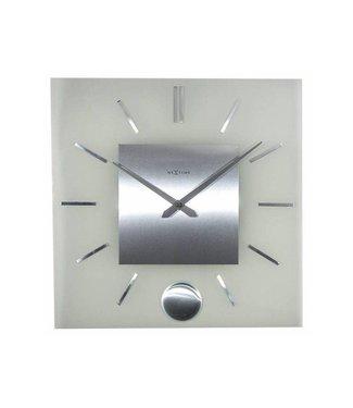 NeXtime Wanduhr Stripe Pendulum Square Silber