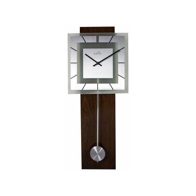 NEXTIME Wanduhr Retro Pendulum Square Mehrfarbig