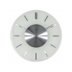 NEXTIME NeXtime Wanduhr Stripe Round RC Weiss Silber 40 cm