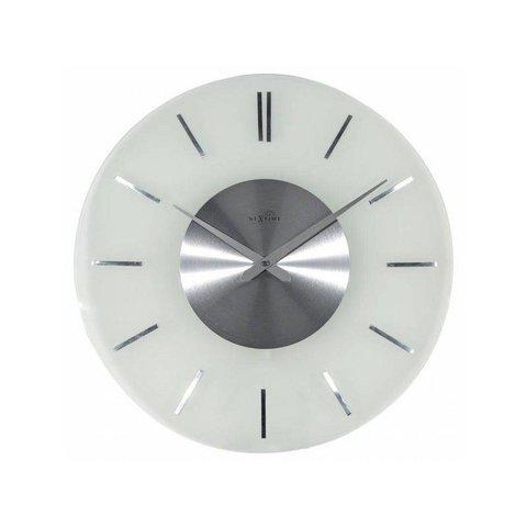 NeXtime Wanduhr Stripe Round RC Weiss Silber 40 cm