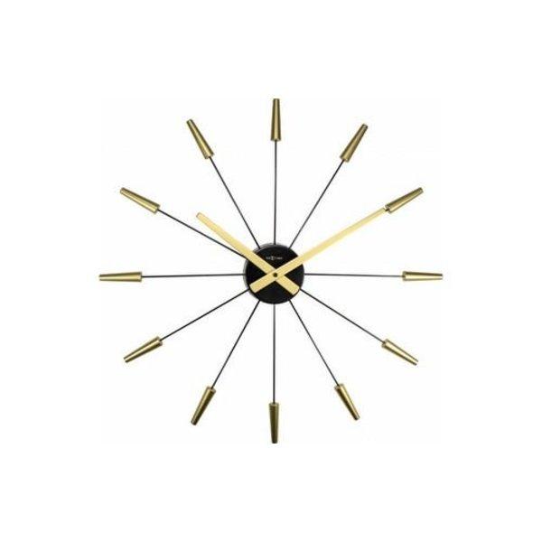 NEXTIME Wanduhr Plug Inn Gold 58 cm