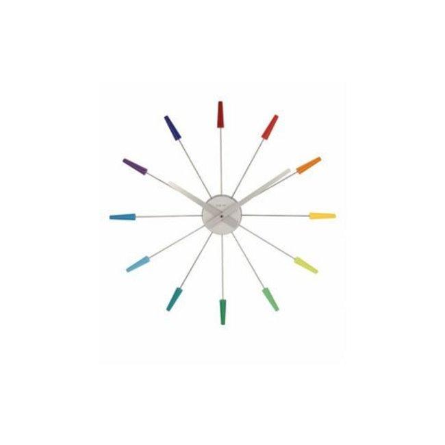 NEXTIME Wanduhr Plug Inn Colour Mehrfarbig 58 cm