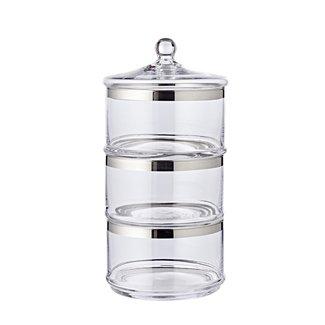 EDZARD Platinum Glas Keksschalen Vigo H 40 cm
