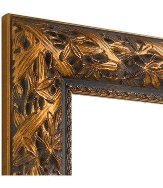Wandspiegel BLOOM in alt-gold aus Echtholtz