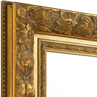 Wandspiegel BAROCK  in Antik Gold aus Echtholtz