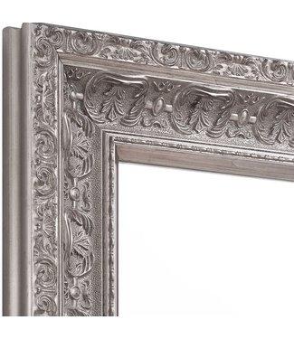 Wandspiegel ANTIK  in Antik Silber aus Echtholtz