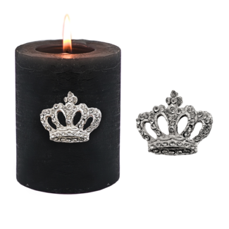 EDZARD Kerzenpin Kerzenstecker Krone, Aluminium vernickelt, Höhe 4 cm