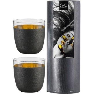 Eisch Glas Sektbecher Cosmo Schwarz - 2 Stück in Geschenkröhre