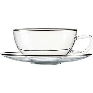 Eisch Glas EISCH Teetasse mit Untersetzer und Platinrand 10 Carat