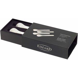 Edzard Edzard 4er Set Perlmuttlöffel Kaviarlöffel Eierlöffel, abgerundete Ecken, Länge 11 cm