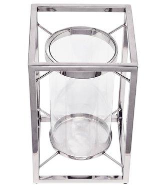 Edzard Edzard Windlicht Banu, Edelstahl vernickelt, mit Glas, Höhe 31 cm
