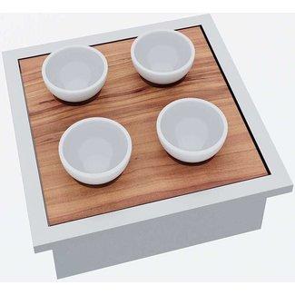 """Ap Design Edelstahl Behälter mit """"Holztablar und Apéro-Geschirr 4 Porzellan Schalen"""" zu Design Grilltisch """"a l"""