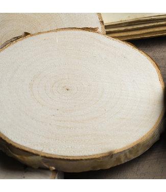Edzard Edzard 4er Set Deko Holz Baumscheibe, hell, ø 70 - 100 mm, Stärke ca. 10 mm + gratis Teelichtglas Dian 8 cm