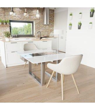 """Ap Design Design Grilltisch """"a la carte"""" In & Outdoor mit Glas, 2 Einsätze / 30 Varianten, weisses Glas"""