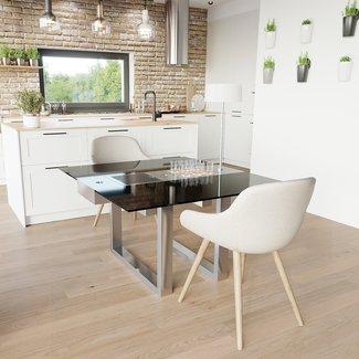 """Ap Design Design Grilltisch """"a la carte"""" In & Outdoor mit Glas, 2 Einsätze / 30 Varianten, schwarzes Glas"""