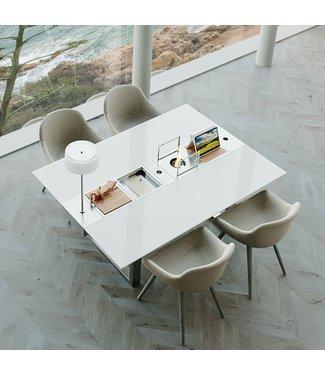 """Ap Design Design Grilltisch """"a la carte"""" In & Outdoor mit Glas, 4 Einsätze / 30 Varianten, weisses glas"""