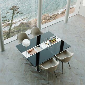 """AP Design Metall Luzern Design Grilltisch """"a la carte"""" In & Outdoor mit Glas, 4 Einsätze / 30 Varianten, schwarzes Glas"""
