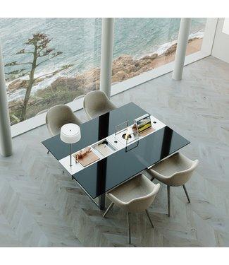 """Ap Design Design Grilltisch """"a la carte"""" In & Outdoor mit Glas, 4 Einsätze / 30 Varianten, schwarzes Glas"""