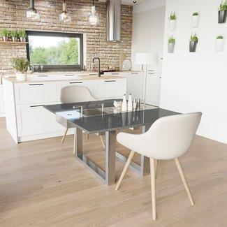 """AP Design Metall Luzern Design Grilltisch """"a la carte"""" In & Outdoor mit Granit, 2 Einsätze / 30 Varianten, Schwarz"""