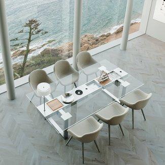 """AP Design Metall Luzern Design Grilltisch """"a la carte"""" In & Outdoor mit Glas, 6 Einsätze / 30 Varianten, Klarglas"""