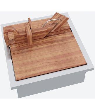 """Ap Design Edelstahl Behälter mit """"Holztablar für Wursthobel"""" zu Design Grilltisch """"a la carte"""""""