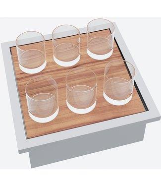 """Ap Design Edelstahl Behälter mit """"Holztablar und Apéro-Geschirr 6 Gläser"""" zu Design Grilltisch """"a la carte"""""""