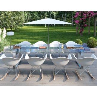 """AP Design Metall Luzern Design Grilltisch """"a la carte"""" In & Outdoor mit Glas, 8 Einsätze / 30 Varianten, Klarglas"""