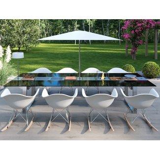 """AP Design Metall Luzern Design Grilltisch """"a la carte"""" In & Outdoor mit Glas, 8 Einsätze / 30 Varianten, schwarzes glas"""