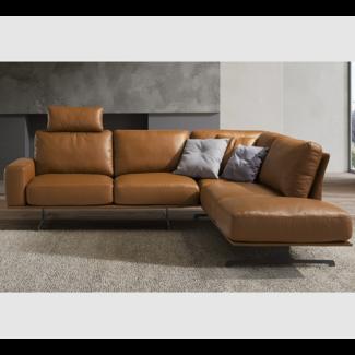 Moderne Leder Ecksofa , Sofa LUGANO, hellbraun