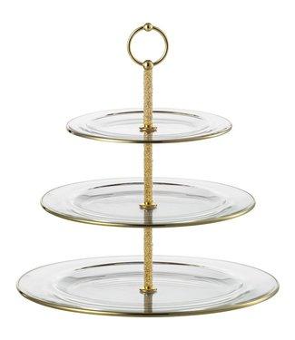 Eisch Glas Eisch Etagere 3-teilig gold 10 Carat