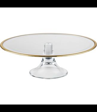 Eisch Glas Eisch Tortenplatte auf Fuss 32 cm gold