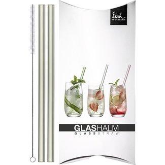 Eisch Glas Eisch Glashalm-Set 2 Trinkhalme grau Gentleman mit Reinigungsbürste im Geschenkkarton
