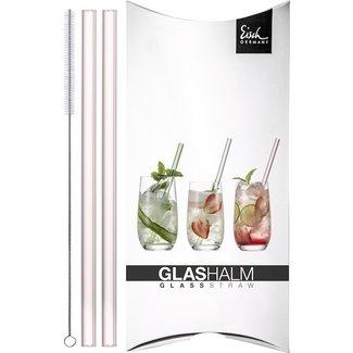 Eisch Glas Eisch Glashalm-Set 2 Trinkhalme rosé Gentleman mit Reinigungsbürste im Geschenkkarton