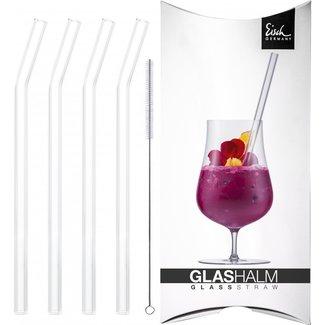 Eisch Glas Eisch Glashalm-Set 997/10 geknickt kristall 4x + Bürste im Geschenkkarton Gentleman