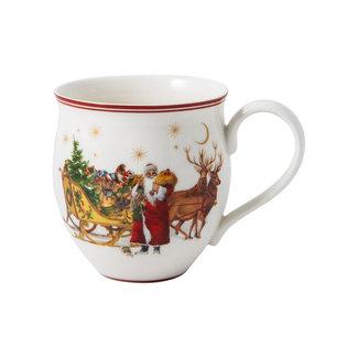 Villeroy & Boch VILLEROY & BOCH Toy's Delight Becher mit Henkel, Santa mit Schlitten, bunt/grün/rot, 440 ml