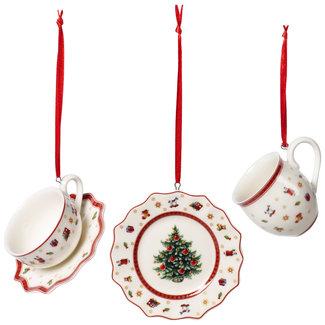 Villeroy & Boch VILLEROY & BOCH Toy's Delight Decoration Ornamente Geschirr-Set, weiss/rot, 3-teilig, 6,3 cm