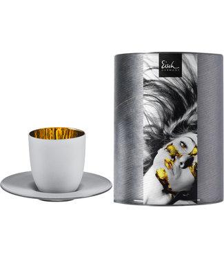 Eisch Glas EISCH Espressoglas mit Untersetzer Cosmo weiss