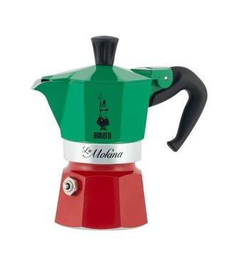 Bialetti Bialetti Espressokanne Mokina Grün/Rot/Weiss, 1 Tassen