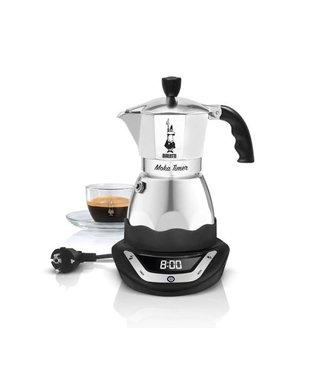 Bialetti Bialetti Espressokocher Moka Timer 3 Tassen, Schwarz/Silber