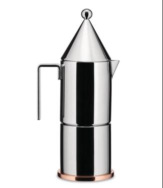 Alessi Alessi Espressokocher aus Edelstahl 18/10, Boden aus Kupfer. 3 Tassen.