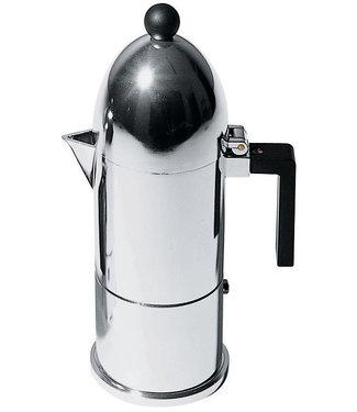 Alessi Alessi Espressokocher aus Gußaluminium. Griff und Knopf aus thermoplastischem Harz, schwarz. 3 Tassen.