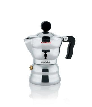Alessi Alessi  Espressokocher aus Gußaluminium. Griff und Knopf aus thermoplastischem Harz, schwarz. 6 Tassen.